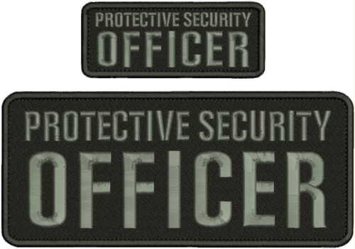 PROTECTIVE SECURITY OFFICER EMBROIDERY PATCH 4x10 & 2X5  hook on back/GRAY