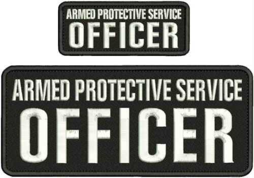 ARMED PROTECTIVE SERVICE OFFICER  EMB PATC 4X10 & 2X5 HOOK ON BACK BLK/WHIW
