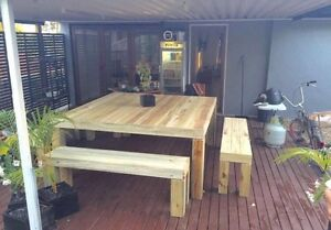 When SIZE maters 12 seater rustic table and bench seats Highland Park Gold Coast City Preview