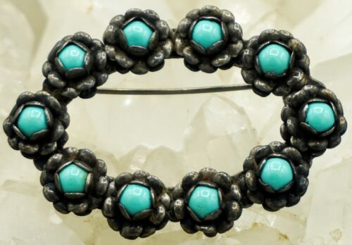 VTG Sterling Silver & Turquoise Brooch Pin! Nice! 292