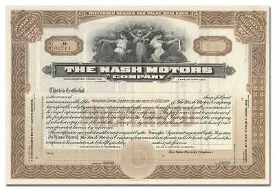 Nash Motors Company Stock Certificate