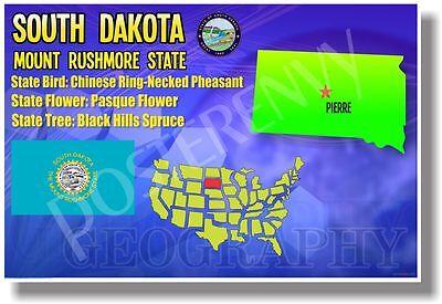 South Dakota Geography - NEW U.S State Travel POSTER ()