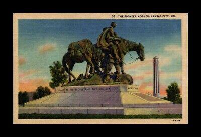 DR JIM STAMPS US PIONEER MOTHER KANSAS CITY MISSOURI LINEN VIEW POSTCARD