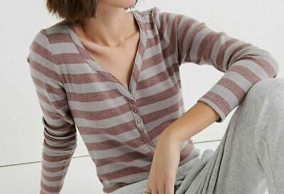⭐NWT⭐Lucky Brand Women's Rose Stripe Snap Thermal Henley Long Sleeve Shirt $49