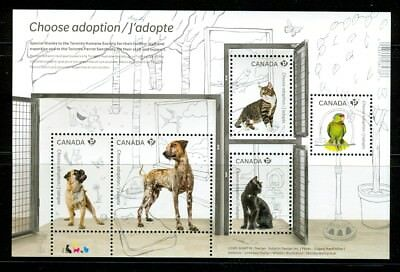 Canada #2636 Adopt a Pet Souvenir Sheet 2013 Cat bird Parrot  Dog MNH