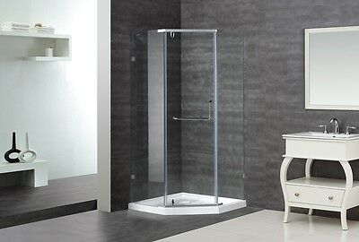 "ASTON Epidemic 36"" x 36"" x 75"" Neo-Angle Semi-Frameless Shower Enclosure + Menial"