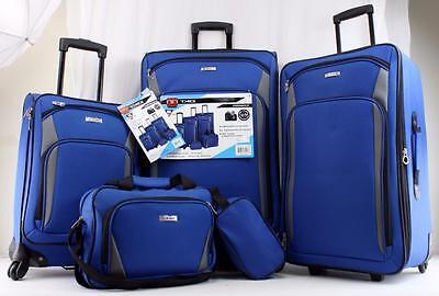 TAG CORONADO lII 5-PC. LUGGAGE SET BLUE SPINNER 2 WHEEL SUITCASES **USED** 2