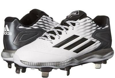 official photos f9a8d 8a69e Adidas Men s PowerAlley 3 Metal Baseball Cleats Shoes White Black Grey Size  9