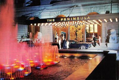 Peninsula Hotel (Peninsula Hotel, Hong Kong, China Fountains At Night c1960s Vintage Postcard)