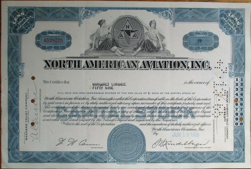 North American Aviation 1960s Stock Certificate - Rockwell / Boeing