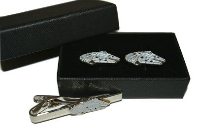 Star Wars Millennium Falcon Cufflinks and Tie Clip Set Gift Boxed Enamel Men's