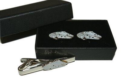 Star Wars Millennium Falcon Cufflinks and Tie Clip Set Gift Boxed Enamel Men's