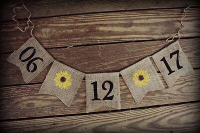 Save the Date~Burlap Wedding Banner/Bunting ~ Engagement Photo Prop Sunflower  - Burlap Wedding Banners
