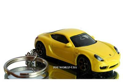 Custom Key chain '14 Porsche Cayman yellow