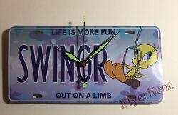 Tweety Bird Looney Toons SWINGR swing License Plate Wall mount Clock