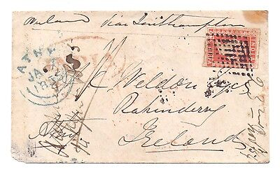 India 1854 Victoria 1 Anna Imperf Litho  On Cover Overland Mail To Ireland