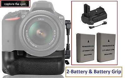 Multi-Power Battery Grip With 2-Pc EN-EL14a Battery For Nikon D3100 D3200 for sale  Shipping to India