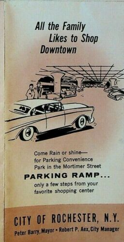 Rochester NY All the Family Loves to Shop Downtown Brochure 1950s Parking Ramp