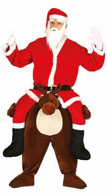 Santa Reite On Me Rentier Schweinchen Carry Lustig Kostüm (Lustige Santa Kostüme)