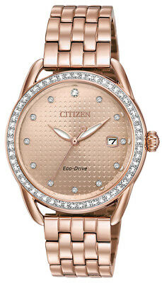 Citizen Eco-Drive LTR Women's FE6113-57X Crystals Rose Gold-Tone 37mm Watch