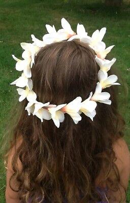 Girls White Floral Crown Flower Headband Beach Halo White Floral Head Wreath (Flower Halo Headband)