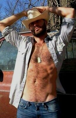 Shirtless Hairy Chest Abs Beard Country Cowboy Jock Beefcake PHOTO 4X6 F1557