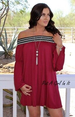 PLUS SIZE ON or OFF SHOULDER BURGUNDY BRAIDED DRESS TUNIC BLOUSE XL 1X 2X 3X USA