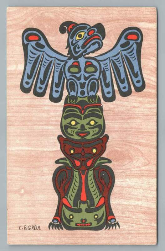 Totem+Pole%7EBritish+Columbia+Indian+PC+Artist-Signed+CB+Greul%7EPostcard+1950s