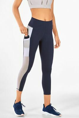 NEW FABLETICS Pocket Legging Mila Capri Indigo Blue Heather High Rise Large NWT!