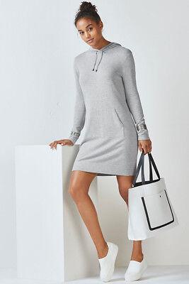 BNWT FABLETICS Yukon Sweater Sweatshirt Dress Medium 12 M Grey Hooded Knit