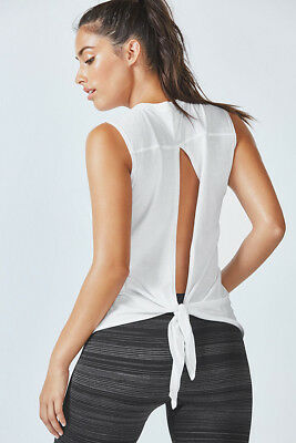 FABLETICS Women's Calliope Tank Top Fit Slit Back adjustable tie white XS-L NWT