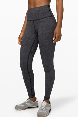 "Lululemon Wunder Under HR Tight 28"" Veriegated Knit Jacquard Black Size 8"