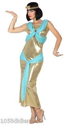 Costume BLU ORO Donna Regina Egitto Cleopatra XS/S 36/38 Egiziano film NUOVO