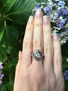 Genuine Vintage Diamond & Sapphire 18ct White Gold Ring Neutral Bay North Sydney Area Preview