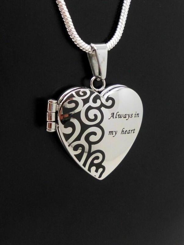 316L S/Steel Always In My Heart Photo & Keepsake Jewellery Locket Pendant NIB