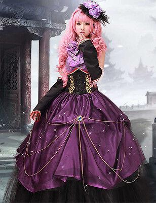 Vocaloid Megurine Luka Cosplay Kostüm Abend-Kleid Gothic lang wig Perücke pink