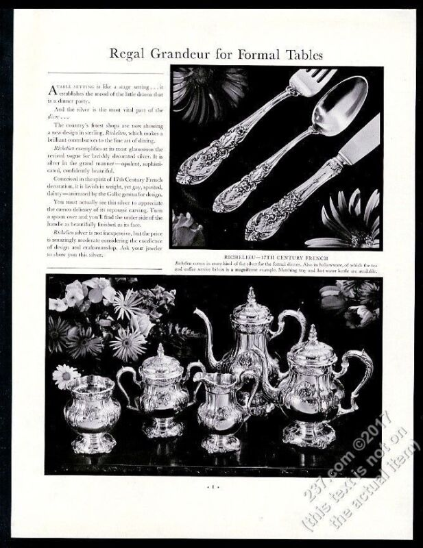 1936 Richelieu silver 17th Century French pattern coffee service photo print ad
