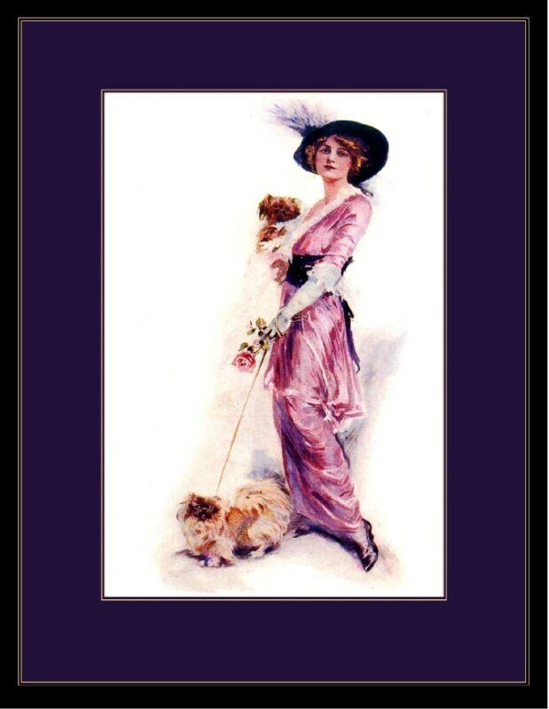 English Picture Print Pekingese Puppy Dog & Beautiful Victorian Lady Art Poster