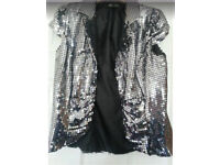 Silver sequin party jacket size 12
