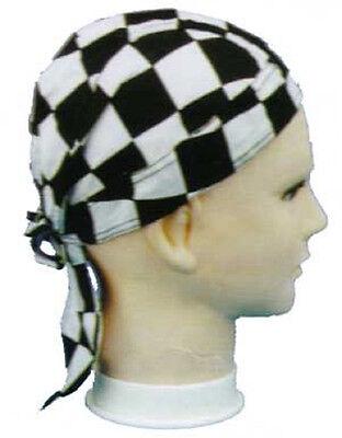 CHECKERBOARD Checker FITTED BANDANA w/TIES DOO DO DU RAG Head Wrap Cap - Checkerboard Bandana