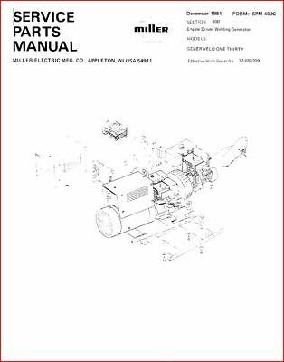 Miller Generweld One Thirty Service Parts Manual Eff W 72-655299