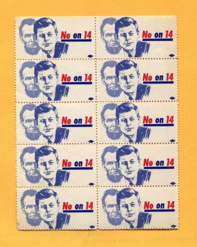 1964 Civil Rights  California Anti PROP. 14  HOUSING DISCRIMINATION Cause Stamps