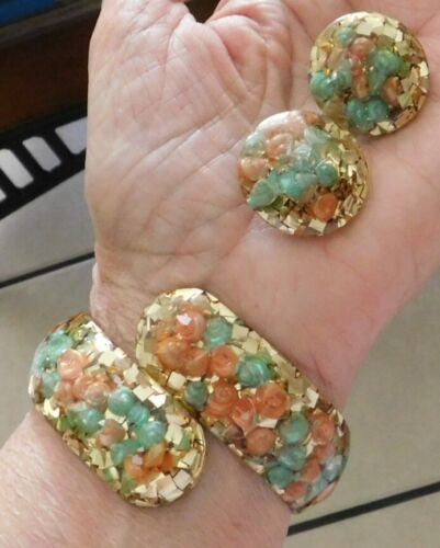 Demi Lucite Hinged Cuff Bracelet & Pair Earrings Inside Coral Green Shells Gold