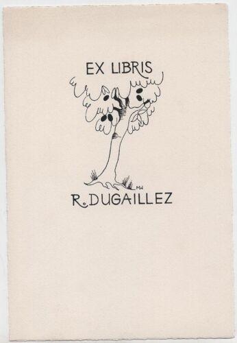 Midcentury Belgian Ex Libris Bookplate – Artist Margot Weemaes
