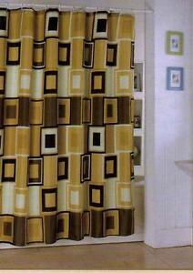 Mustard Brown Yellow Square Design Bathroom Shower Curtain With 12 Ceramic Hook Ebay