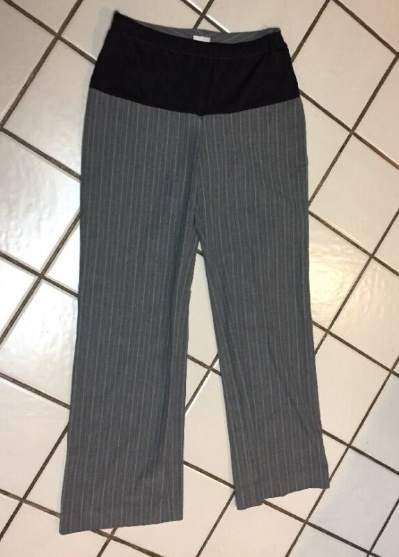 CHICO'S Maternity Pull On Career Pants Added Banded Waist Sz .5 (4) Gray Stripe
