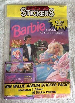 1996 Mattel Barbie Sticker & Activity Album Sealed 1 Album & 10 Sticker Packs