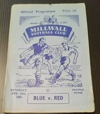 Millwall - Blue vs Red Practice Match Programme 18/08/55