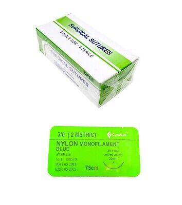 30 Training Surgical Sutures Nylon Monofilament With Needle 12 Pack Sterile