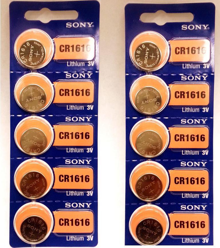 10 Pcs SONY CR1616 Lithium Coin 3v Batteries CR 1616